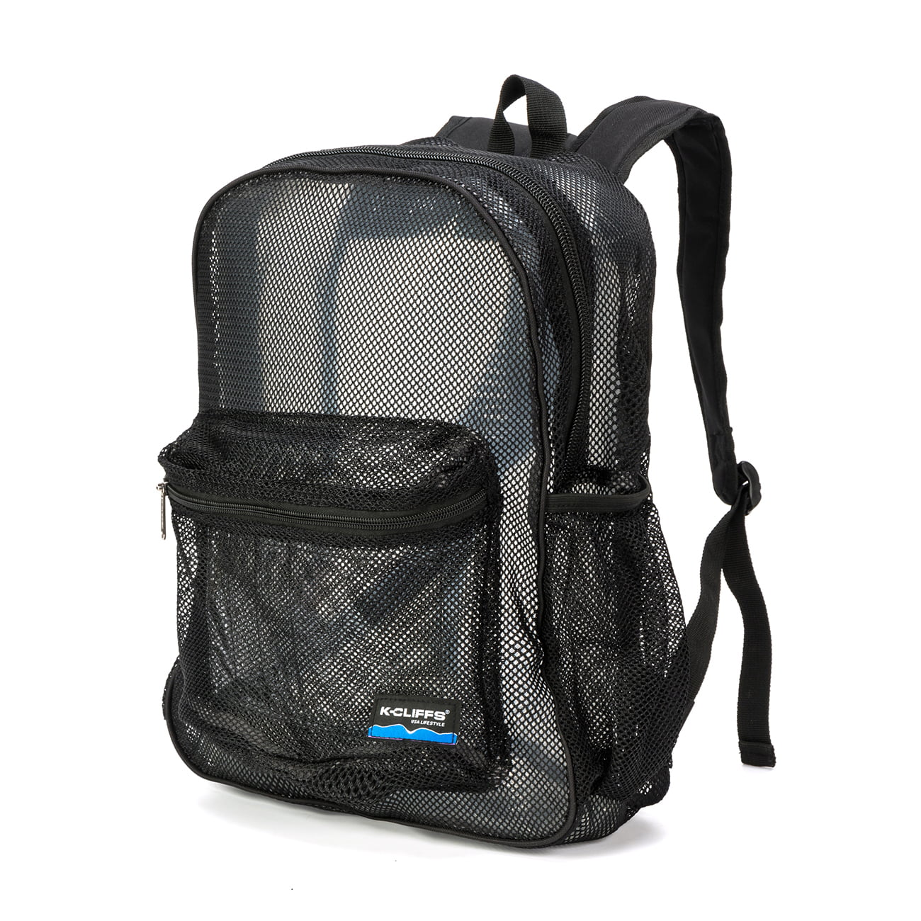 Mesh Backpack Heavy Duty Student Net Bookbag Quality Simple Netting School Bag Security See Through Daypack Black by K-Cliffs