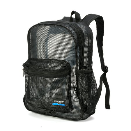 Ncaa Mesh Bag (Mesh Backpack Heavy Duty Student Net Bookbag Quality Simple Netting School Bag Security See Through Daypack Black )