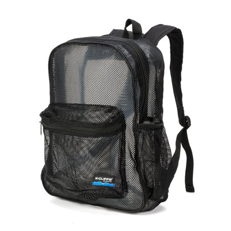 Mesh Backpack - Mesh Backpack Heavy Duty Student Net Bookbag Quality Simple Netting School Bag Security See Through Daypack Black