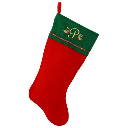 Embroidered Initial Christmas Stocking, Green and Red Felt, Gold Embroidery - Green Christmas Stockings
