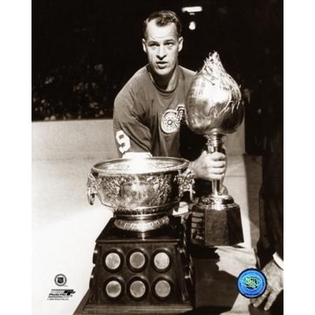 Gordie Howe Posed with the Hart Memorial Trophy and the Art Ross Trophy Circa 1963 Photo Print