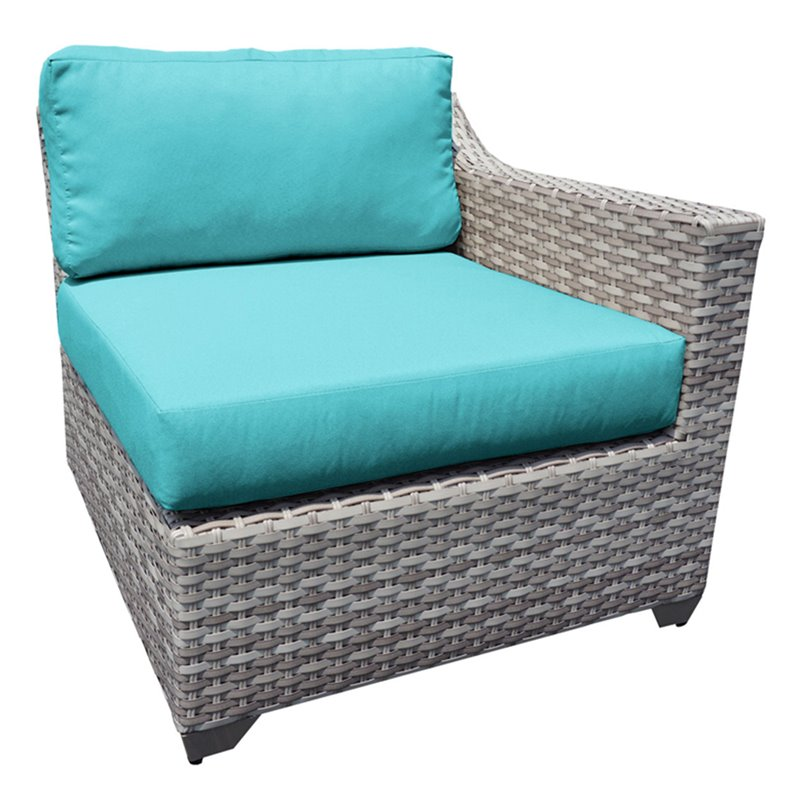Bowery Hill Left Arm Patio Chair in Turquoise