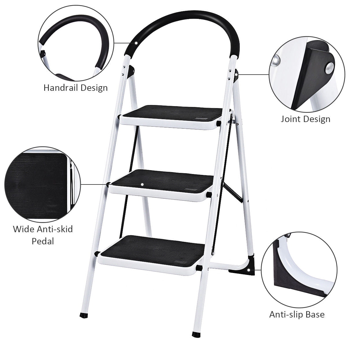 Fantastic Costway 3 Step Ladder Folding Stool Heavy Duty 330Lbs Andrewgaddart Wooden Chair Designs For Living Room Andrewgaddartcom