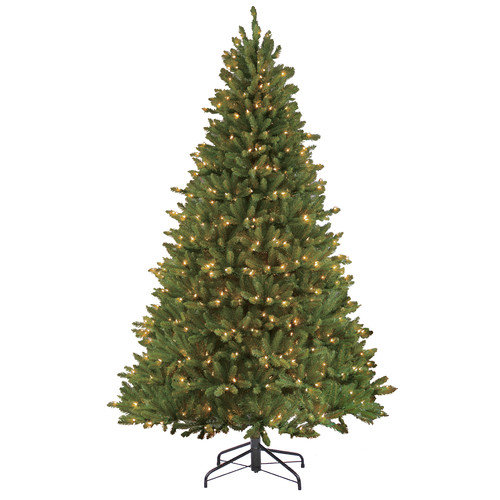 Puleo International 7.5' Green Fir Artificial Christmas Tree with 750 Clear Lights with Stand