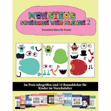 Kunstaktivitäten Für Kinder: Kunstaktivitäten für Kinder: 20 vollfarbige Kindergarten-Arbeitsblätter zum Ausschneiden und Einfügen - Monster 2 (Paperback)