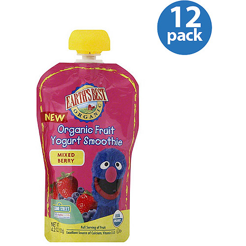 Earth's Best Organic Fruit Yogurt Mixed Berry Smoothie, 4.2 oz (Pack of 12)