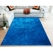8x10 Feet Shag Shaggy Fluffy Furry Fuzzy Contemporary Modern Decorative Living Room Bedroom Soft Plush High Pile Area Rug Electric Blue Color