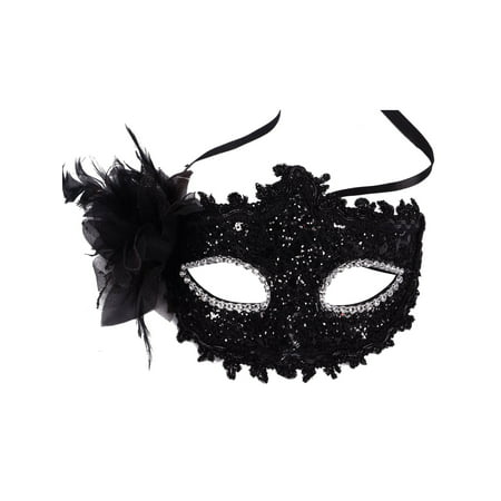 AMC Sheer Lace and Floral Mardi Gras Masquerade Costume Mask, 3733_Black