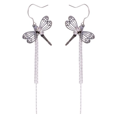 Black Dragonfly Outline with Two Clear Round Crystals Silver Tone Drop