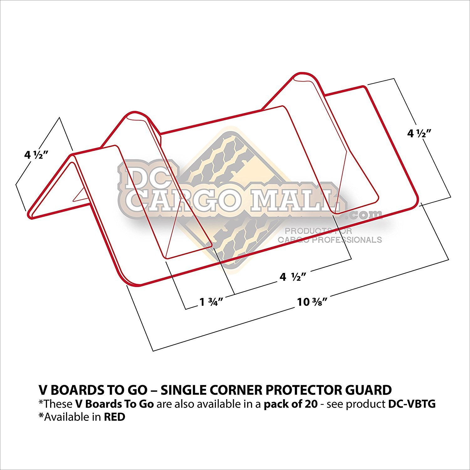 Cargo Load Corner Edge Protector and Tie-Down Strap Guard Bumper Cushion Vee Board Carry-on Pack of 20 Red VBoards DC Cargo Mall 11 x 4 x 4