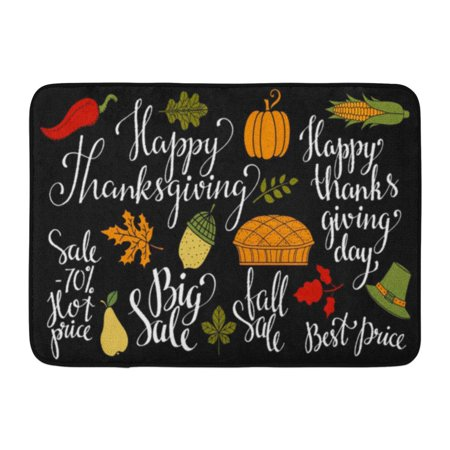 GODPOK Fall Autumn Leaves Acorn Pumpkin Hat Corn Cob Pie Happy Thanksgiving Day Big Sale Best Price 70 Hot Rug Doormat Bath Mat 23.6x15.7