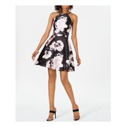 XSCAPE Womens Black Floral Sleeveless Halter Above The Knee Fit + Flare Party Dress  Size: 14