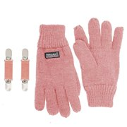 SANREMO Unisex Kids Knitted Fleece Lined Warm Winter Gloves and Glove Clips set (4-7 Years, Light Pink)