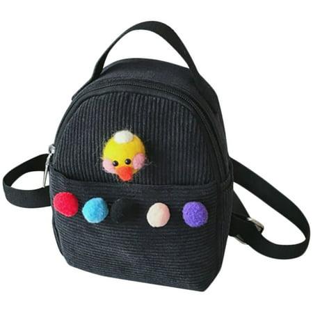 Kids Backpack, Coofit Corduroy Lightweight Cute Cartoon Pom Pom Mini Travel Lunch Bag Small School Bookbags for Girls Boys Children Toddler Preschool Kindergarten (Best Backpack For Kindergarten Girl)