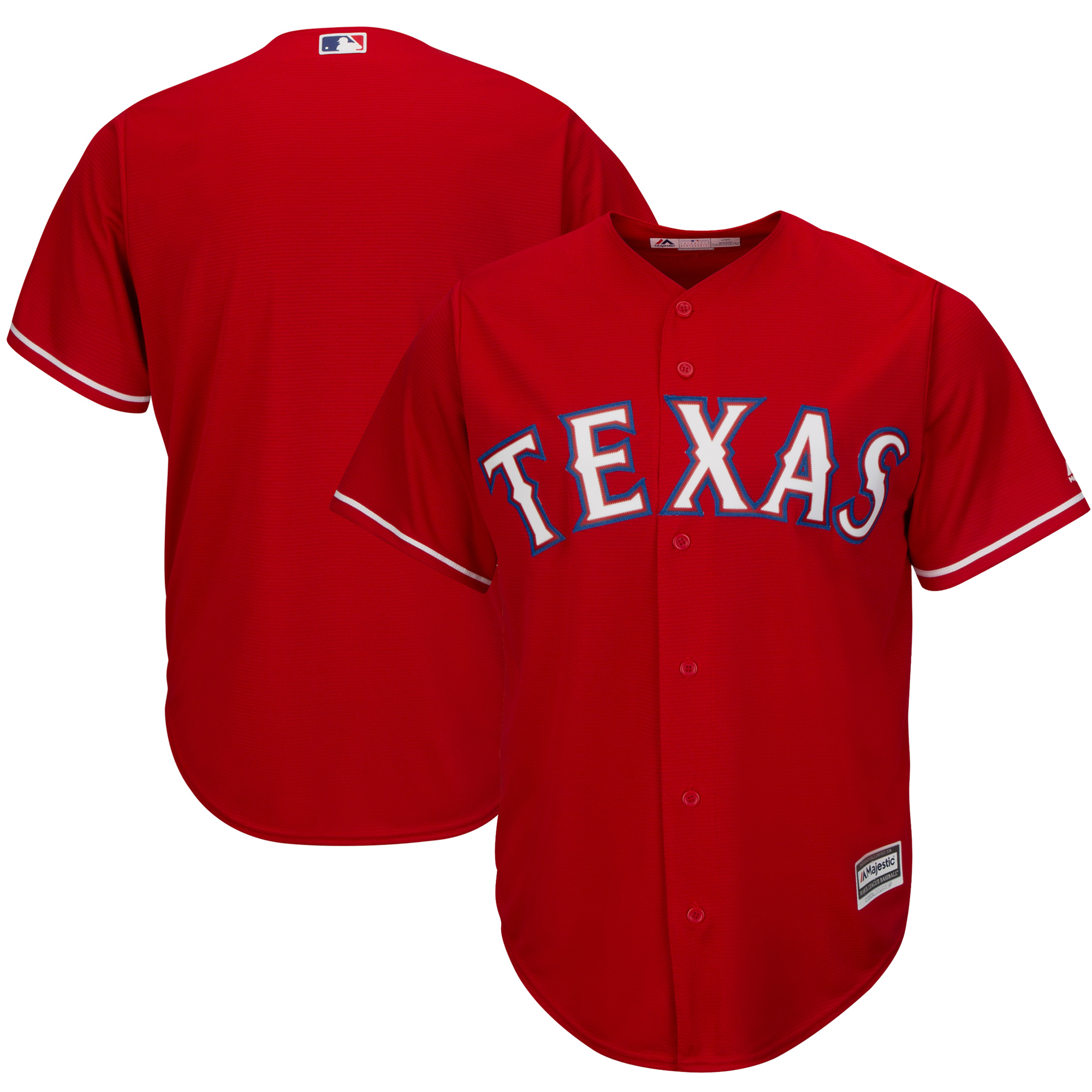 Texas Rangers Majestic Official Cool Base Jersey - Red