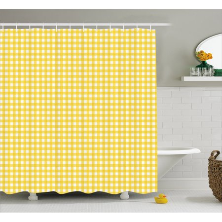 Checkered Shower Curtain, Classic English Pattern in Yellow Picnic ...