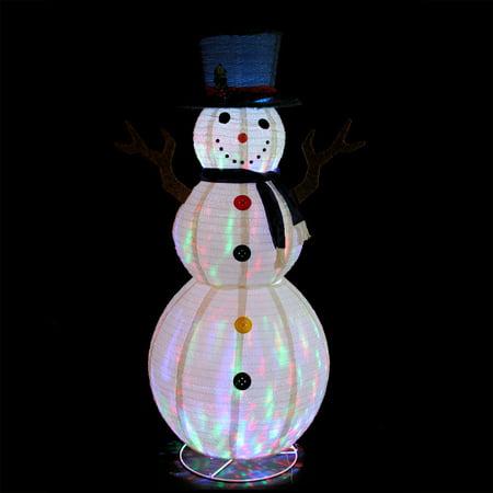 72 Pre Lit Led Multi Color Embossed Snowman With Top Hat Christmas Outdoor Decoration Walmart Com Walmart Com