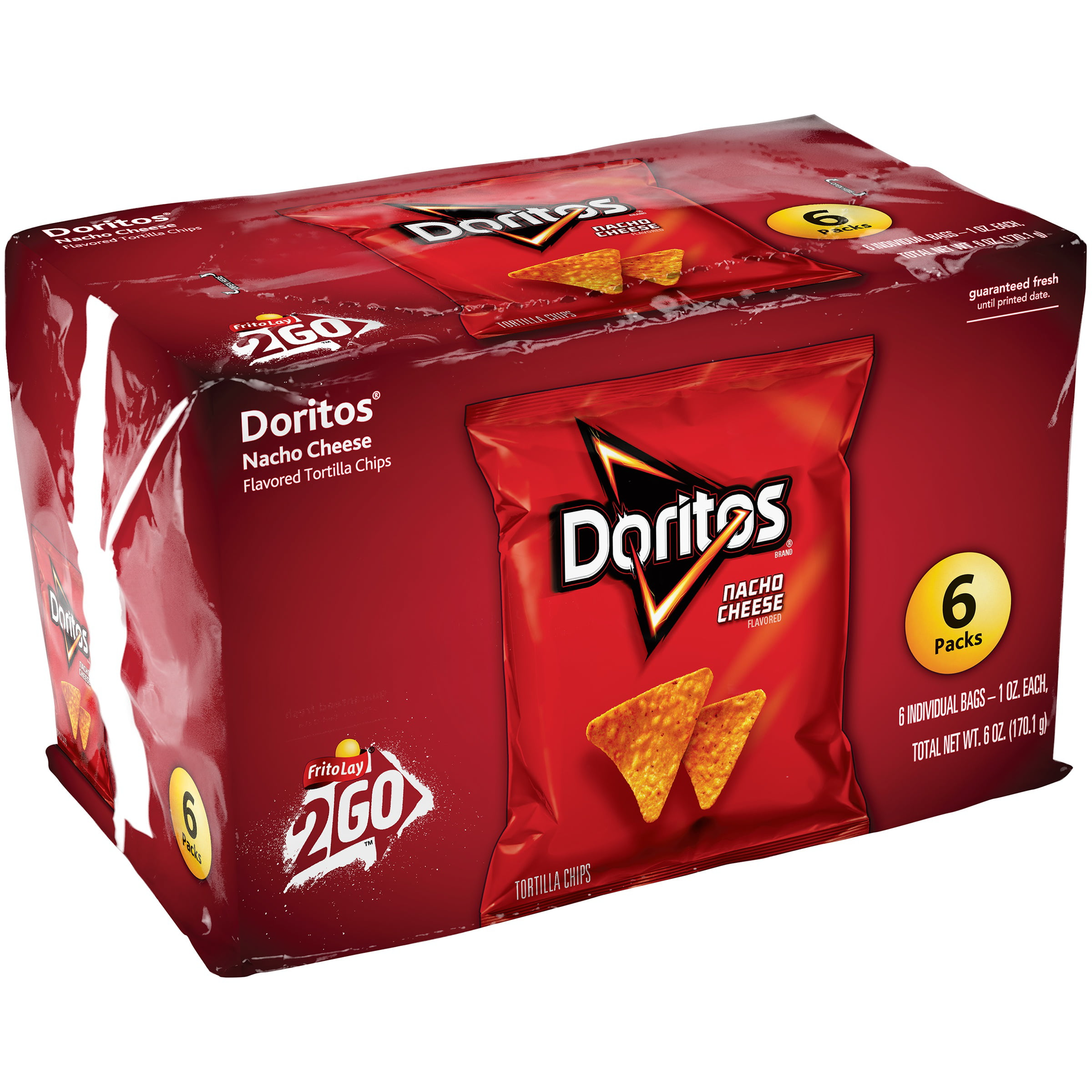 doritos nacho cheese flavored tortilla chips, 6 count, 1 oz bags