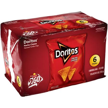Doritos Nacho Cheese Flavored Tortilla Chips, 6 Count, 1 oz Bags