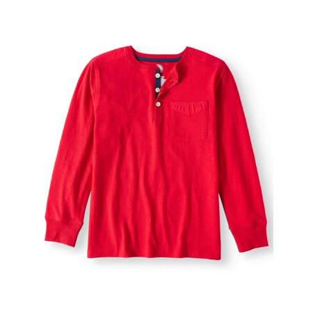 Wonder Nation Long Sleeve Henley Tee with Pocket (Little Boys & Big Boys) - Boy With Halo