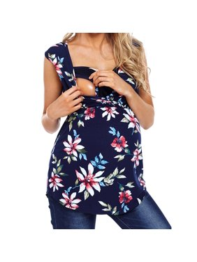 704d35eb430 Product Image Tuscom Women's Maternity Sleeveless Floral Print Tops Nursing  Baby Blouse Clothes