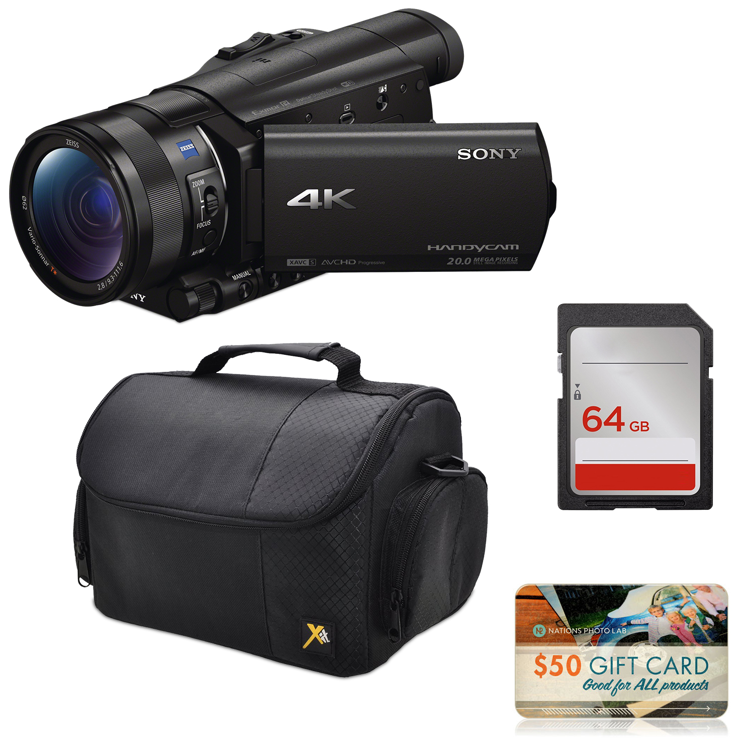 Sony FDR-AX100 4K Ultra HD Camcorder Video Camera + 64GB SD Card Memory, Carrying Case, $50 Nations Photo Lab Gift Card