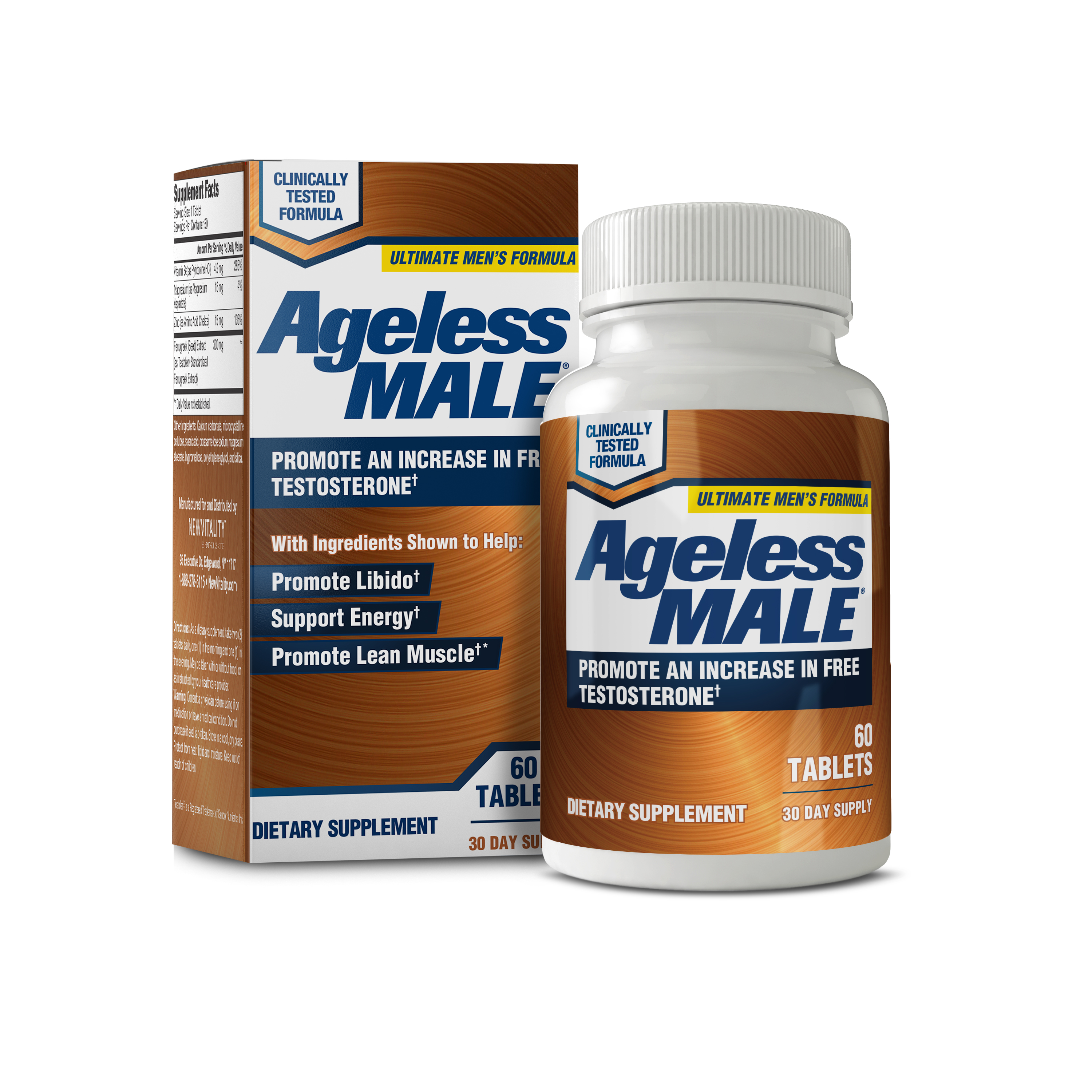 Ageless Male Free Testosterone Booster Capsules, 60 Ct