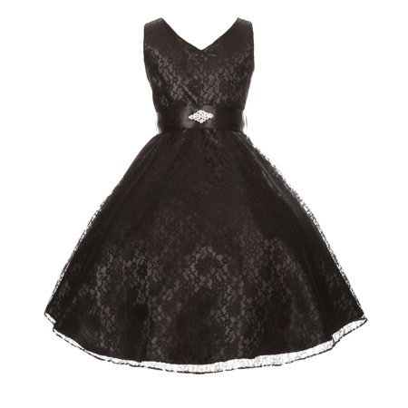 Little Girls Black Lace Overlay Satin Brooch Sash Flower Girl Dress 4-6](Satin Dress With Lace Overlay)