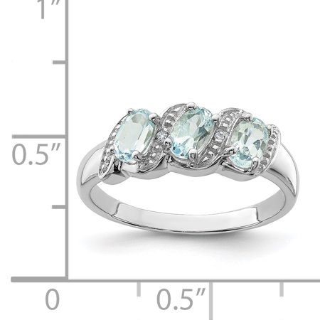 925 Sterling Silver Rhodium Aquamarine and Diamond Ring - image 1 de 2