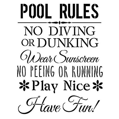 Pool Rules Stencil by StudioR12 | Fun Swimming Safety Word Art - Large 11 x  14-inch Reusable Mylar Template | Painting, Chalk, Mixed Media | Use for ...