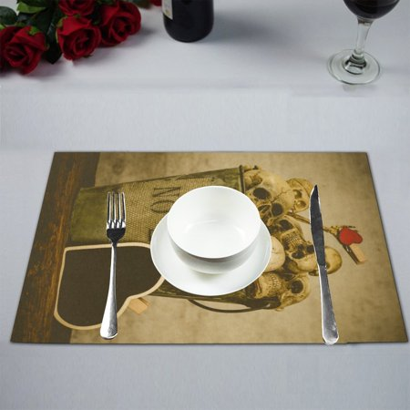 MYPOP Still Life With Human Skull Kitchen Table Mat Placemats for Dining Table 12x18 inches ()