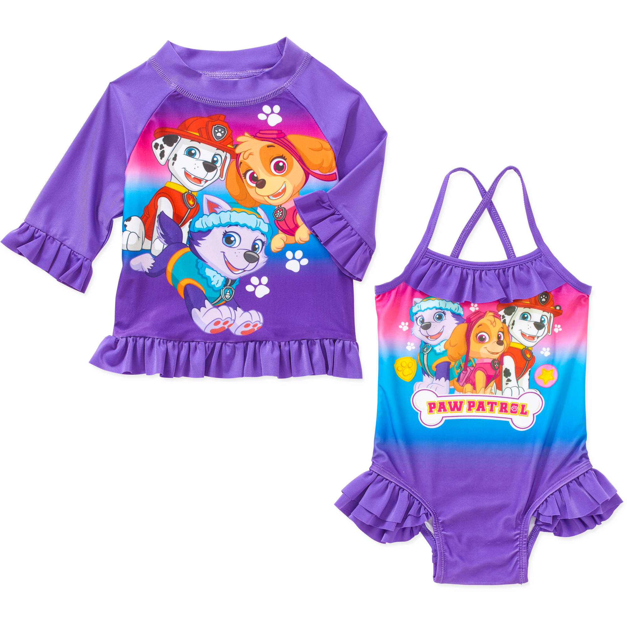 Toddler Girl Swim Set with Swim Suit and Rash Guard