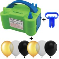 Electric Balloon Pump w/Tying Tool and 90 Balloons, 12 inch, 3 Colors - 30 Metallic Gold, 30 Clear, and 30 Black. Lightweight Inflator has Two Nozzles to Make Blowing Quick and Easy