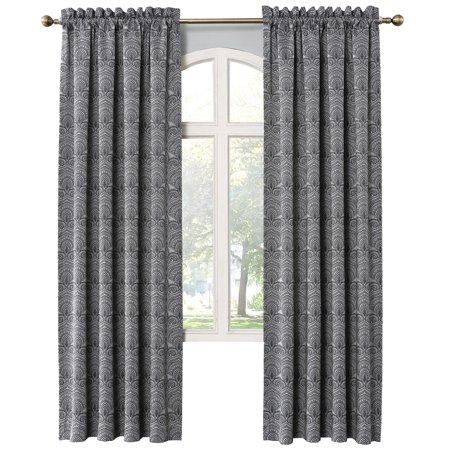 Dimitri Damask Print Window Curtain Panel, Rod Pocket, 54