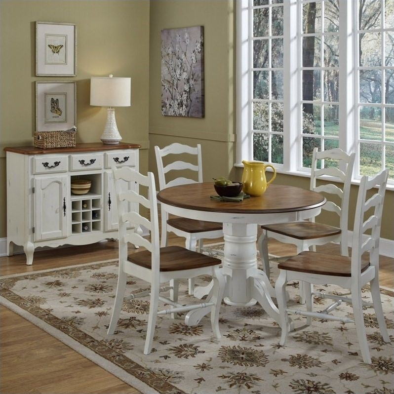 Home Styles French Countryside 5 Pieces Dining Room Set in Oak and Rubbed White by HomeStyles