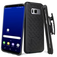 SOGA [Holster Combo Series] Slim Hard Armor Defender Protective Case with Belt Clip for Samsung Galaxy S8 PLUS Belt Clip - Black