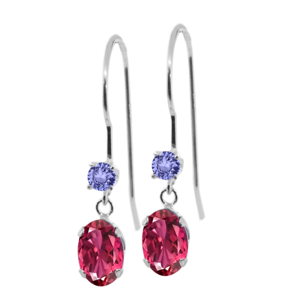 1.16 Ct Oval Pink Tourmaline Blue Tanzanite 14K White Gold Earrings by