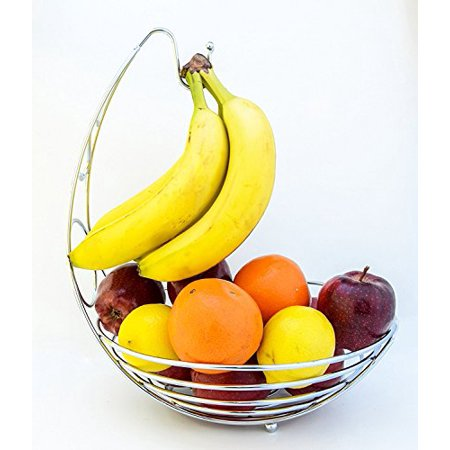 Metal Fruit Basket with Banana Hanger Quality Countertop Baskets Tabletop Iron Produce Stand Storage Grapes Hanging Rack Chrome