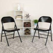 Hercules Hinged Metal Folding Chair, Set of 4, Black