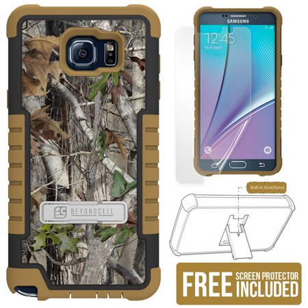 - BEYOND CELL AUTUMN WOODS CAMO LEAF TRI-SHIELD CAMOUGLAGE TREE (BLACK/BROWN) RUGGED SOFT SKIN HARD CASE COVER WITH KICKSTAND + SCREEN PROTECTOR FOR SAMSUNG GALAXY NOTE 5 PHONE (SM-N920)