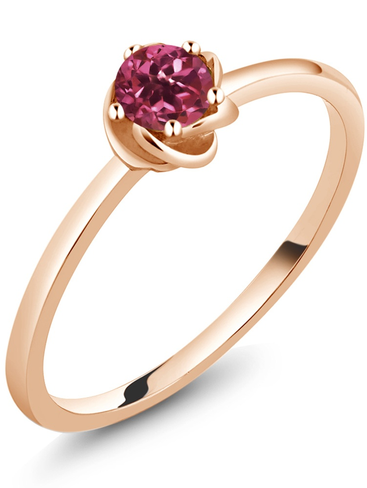 10K Rose Gold Solitaire Ring 0.24 Ct Round Pink Tourmaline by