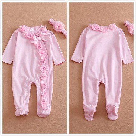 4d8fab9385d 0~7M 2pc Newborn Baby Girls Long Sleeve Romper Flower Headband Clothes  Outfits Set Pink - Walmart.com