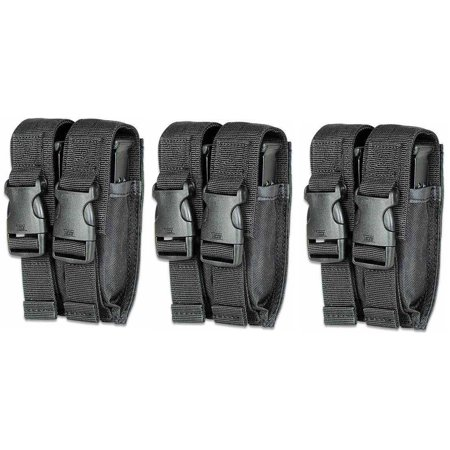Ultimate Arms Gear Pack of 3 Tactical Black Kel-tec Keltec Double Dual 9mm .40 S .45 ACP Hi-Cap PistolCaliber Magazine Mag Nylon Cell Carrier Pouch with Secure Buckle Adjustable Velcro Straps