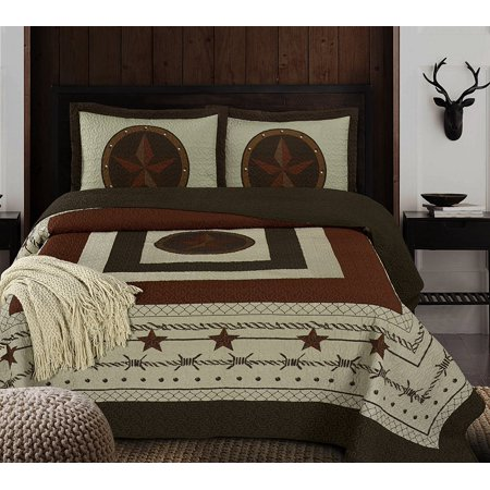 Chezmoi Collection Tucson 3-Piece Western Star Design Soft-Washed Quilt Set