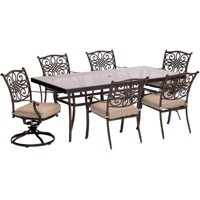 "Hanover Outdoor Traditions 7-Piece Dining Set with with 42"" x 84"" Glass-Top Table, 4 Stationary Chairs and 2 Swivel Rockers"