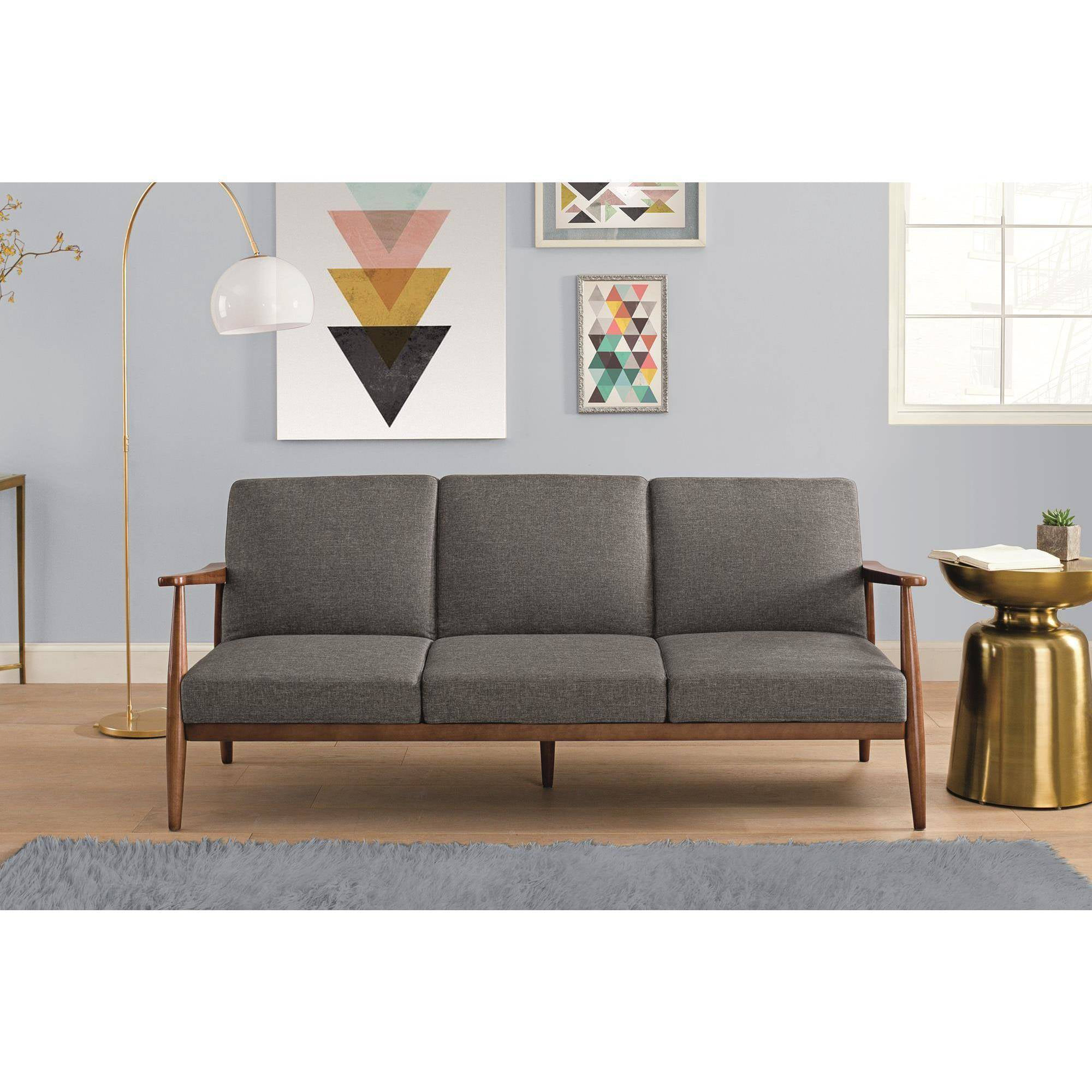 Better Homes And Gardens Flynn Mid Century Futon, Multiple Colors    Walmart.com