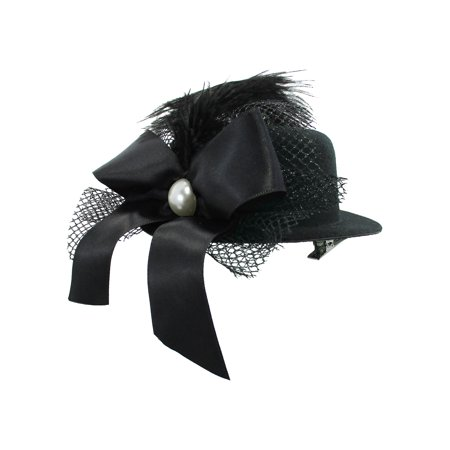 Mini Top Hat Hair Clip Bow Feather Pearl Dancers Burlesque Showgirl Fascinator