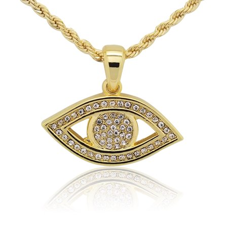 Gold Evil Eye Jewelry - 14K Gold Plated Solid Iced Out Hip Hop Bling Evil Eye Nazar Pendant with 24 inch Rope Necklace Chain