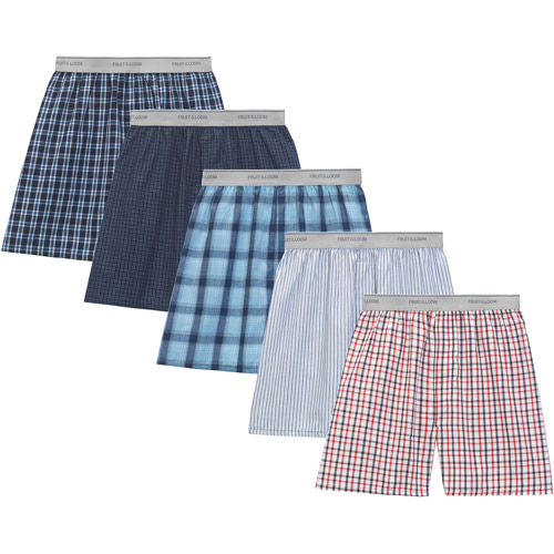 Fruit Of The Loom Men's Underwear Fruit of the Loom Big Men's Soft Stretch Waistband Woven Boxers, 5 - Pack