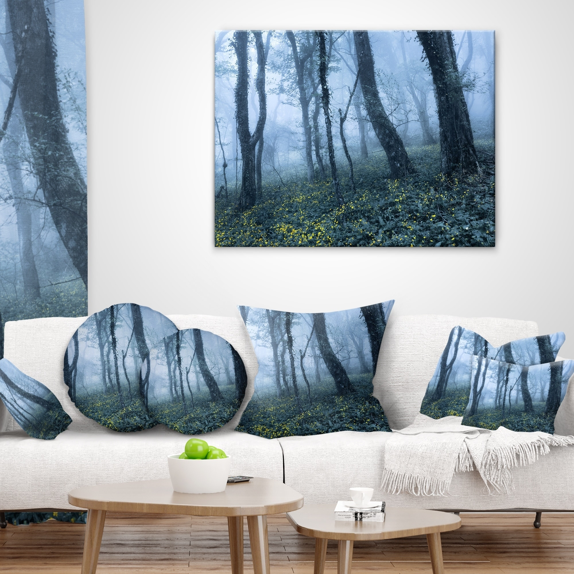 Designart CU8453-26-26 Trees in Foggy Spring Forest Landscape Photography Cushion Cover for Living Room Sofa Throw Pillow 26 in x 26 in in